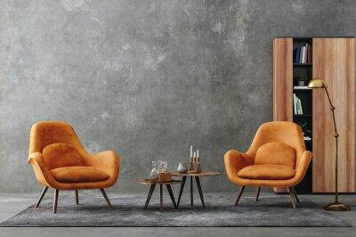 Plakat Living room interior in loft, industrial style, 3d render