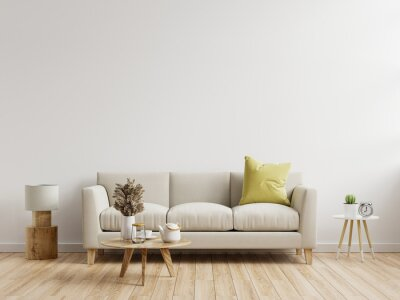 Plakat Living room interior wall mockup with sofa with decor on white background.