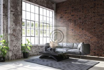 Plakat Living room loft in industrial style ,3d render