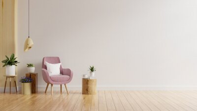 Plakat Living room wall mockup in warm tones with pink armchair and plant.
