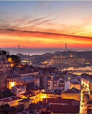 Plakat Lizbona Pejzaż o zachodzie słońca