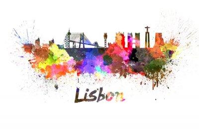 Plakat Lizbona skyline w akwareli