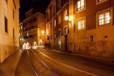 Plakat Lizbonie w nocy w Portugalii