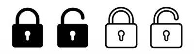Plakat Lock icon collection. Locked and unlocked black line icon set. Flat security symbol. Vector illustration.