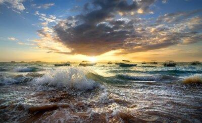 Plakat Łodzie w oceanie