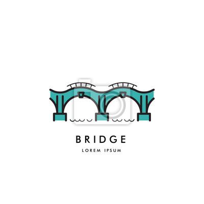 Plakat Logo arched mostu na białym tle