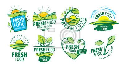 Plakat Logo fresh food from the farm. Vector illustration on white background
