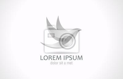 Plakat Logo Metal Latający Ptak Streszczenie Szablon Srebrny Steel