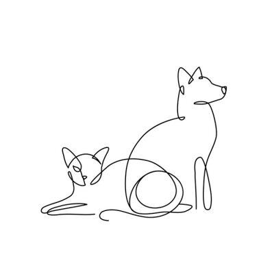 Plakat Logo sztuki linii psa