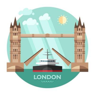 Plakat Londyn (Anglia), w tle miasto wektorowych.