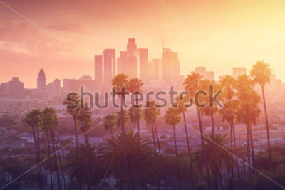 Plakat Los Angeles gorący zachód słońca widok z palmy i centrum miasta w tle. Kalifornia, USA temat - tło. Fotografia artystyczna