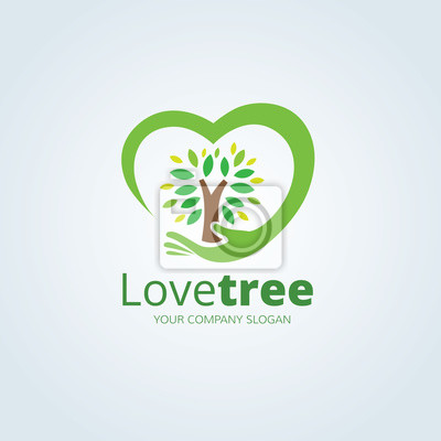 Plakat Love Tree logo, logo wektor szablon