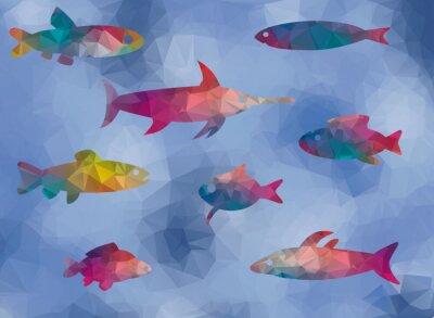 Plakat low poly dole ryb w morzu