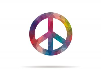Plakat low poly icon colorful peace symbol