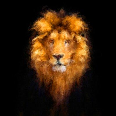Plakat Low Poly Portret Beautiful lwa, abstrakcyjny obraz