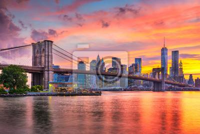 Plakat Lower Manhattan Skyline and Brooklyn Bridge