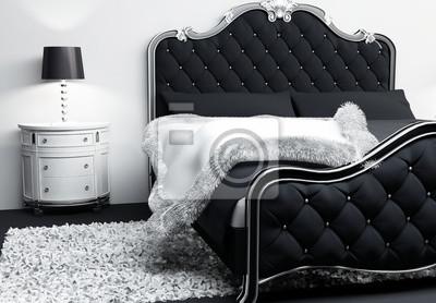 Luksusowe Meble We Wnętrzu Sypialni Nowoczesne łóżko Z Poduszkami Plakaty Redro