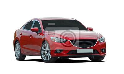 Plakat luksusowy samochód czerwony