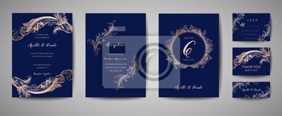 Plakat Luksusowy Vintage Ślub Zapisz datę, Kolekcja kart zaproszenie marynarki wojennej z ramą złota folia i wieniec. Wektorowa modna pokrywa, graficzny plakat, retro broszurka, projekta szablon