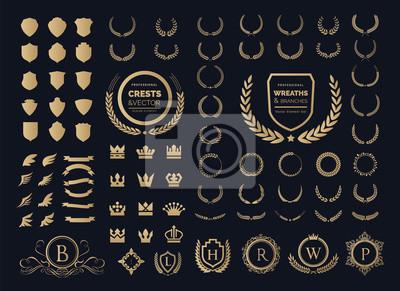 Plakat Luksusowy zestaw logo. Element logo Crest, Crown, Wing, Godło, heraldyczny monogram. Vintage elementy projektu logo.