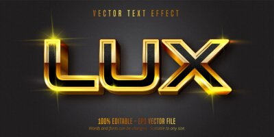 Plakat Lux text, shiny gold style editable text effect