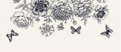 Plakat Luxurious decoration. Garland of luxurious blooming peonies, butterflies and birds.