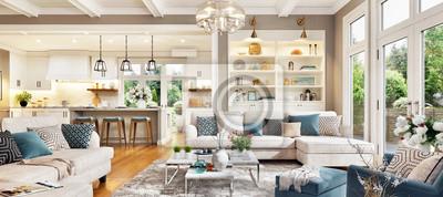 Plakat Luxurious interior design living room and white kitchen. Open plan interior.