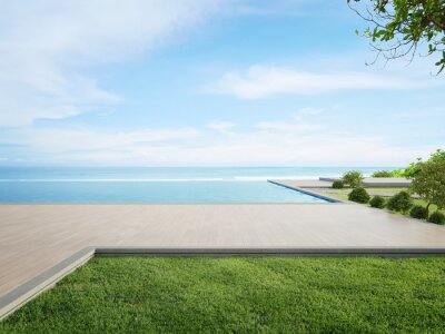 Plakat Luxury beach house with sea view swimming pool and terrace in modern design. Wooden floor deck at vacation home or hotel. 3d illustration of contemporary holiday villa exterior.