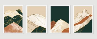 Plakat Luxury Gold Mountain wall art vector set. Earth tones landscapes backgrounds set with moon and sun.  Abstract Plant Art design for print, cover, wallpaper, Minimal and  natural wall art.