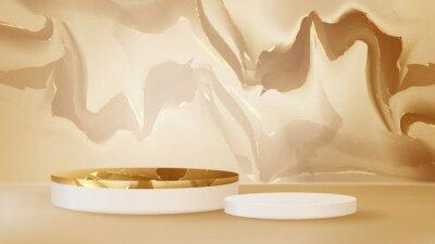Plakat Luxury golden podium marble on brown background. Realistic 3d vector illustration.