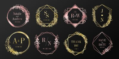 Plakat Luxury logo design collection. Rose gold emblems with initials and floral decorative for branding logo, corporate identity