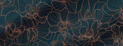 Plakat Luxury Orchid wallpaper design vector. Tropical pattern design,Blossom floral,  Blooming realistic isolated flowers. Hand drawn. Vector illustration.