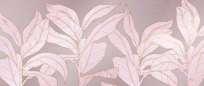 Plakat Luxury rose gold and pink floral background vector. Botanical leaves pattern. Golden Wallpaper design with tropical plant line arts, Vector illustration.