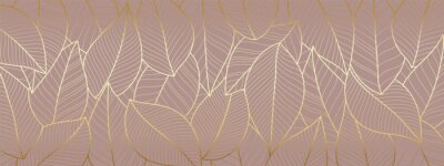Plakat Luxury wallpaper design with Gold leaf and natural background. Leaves line arts design for fabric, prints and background texture, Vector illustration.