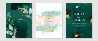 Plakat Luxury wedding invitation card background  with golden line art flower and botanical leaves, Organic shapes, Watercolor. Abstract art background vector design for wedding and vip cover template.