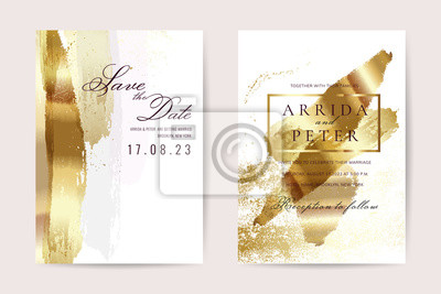 Plakat Luxury wedding invitation cards with gold texture and geometric pattern minimal style vector design template