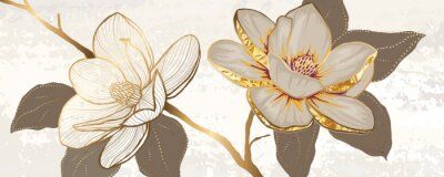 Plakat Luxury white magnolia foil metallic background vector with golden metallic home decorate wall art