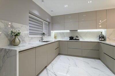 Plakat Luxury white modern marble kitchen in studio space