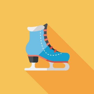 Plakat łyżwy płaskim ikona z długim cieniem, eps10