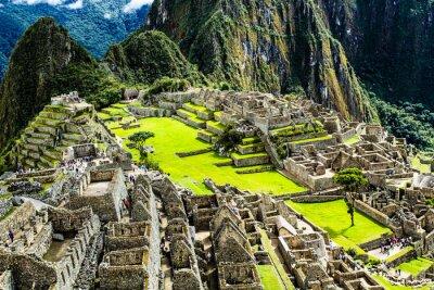 Plakat Machu Picchu, starożytnego miasta Inków w Andach, Peru