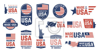Plakat Made in USA badges. Patriot proud label stamp, American flag and national symbols, United States of America patriotic emblems vector set. US product stickers, national independence day 4th july badges