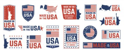 Plakat Made in USA label. American flag emblem, patriot proud nation labels icon and united states label stamps vector isolated symbols set. US product stickers, national independence day 4th july badges