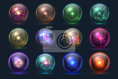 Plakat Magiczne kryształowe kule. Świecące magiczne kule, tajemnicze zjawiska paranormalne czarodzieja. Wektorowy ustawiający krystaliczna okręgu i piłki sfery ilustracja