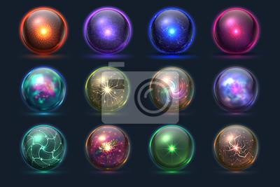 Plakat Magiczne kule. Tajemnicze kule energetyczne, magiczna przepowiednia szkła kryształowego. Wektorowy ustawiający koloru sfery kryształ, szklana magiczna piłki ilustracja