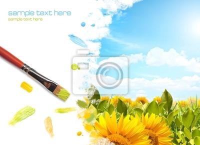 Plakat Malarstwo pejzażowe słonecznikowy