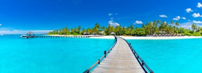 Plakat Maldives island beach panorama. Palm trees and beach bar and long wooden pier pathway. Tropical vacation and summer holiday background concept