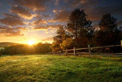 Plakat Malowniczy krajobraz, ogrodzony ranczo o wschodzie słońca