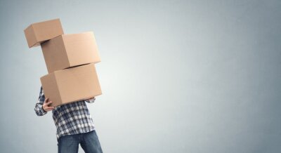 Plakat Man holding heavy cardboard boxes relocation, moving house or courier delivery