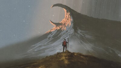 Plakat man standing on a hill looking at the strange mountain, digital art style, illustration painting