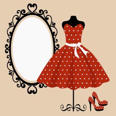 Plakat manekin i retro czerwona sukienka i lustro